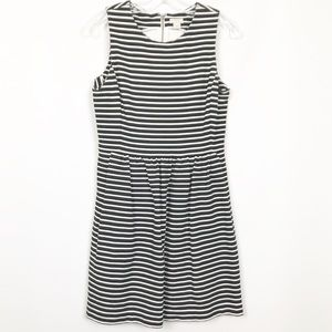 J. Crew Black & White Striped Fit and Flare Dress